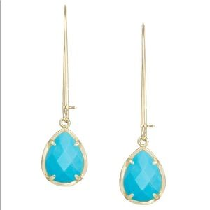 EUC Kendra Scott Dee Teardrop Earrings Gold Blue